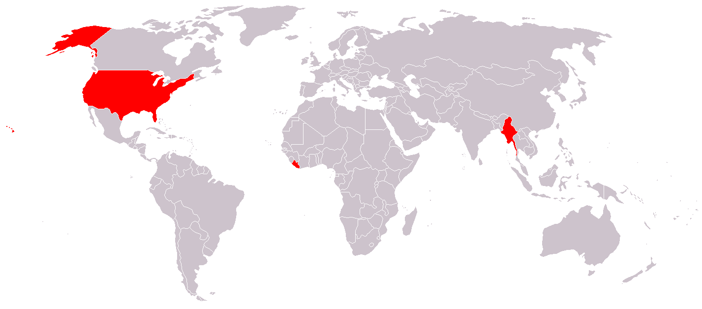 Map Of Countries Officially Not Using The Metric System - Map of north america and united kingdom