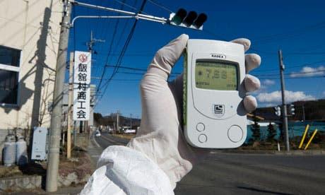 Monitoring radioactivity levels near the Fukushima Daiichi nuclear power plant. Photograph: Christian Slund/Reuters