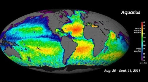Map of the world's water salinity released by NASA's Aquarius. Yellow and red colors on the map indicate areas of higher salinity while blues and purples represent areas with lower salinity. (c) NASA/GSFC/JPL-Caltech