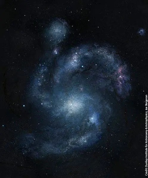 Artist's rendering of the oldest known spiral galaxy - 11 billion years old. The red area in the upper right corner is a dwarf galaxy that is merging with it. (Dunlap Institute for Astronomy & Astrophysics/Joe Bergeron)