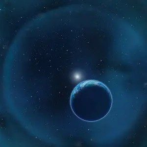 Artist impression of a possible Earth-like planet capable of harboring life orbiting around its parent white dwarf star. (c) David A. Aguilar (CfA)