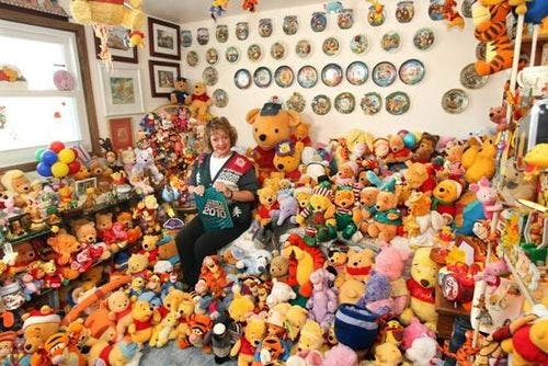Deb Hoffman from Wisconsin has spent twenty years collecting Winnie the Pooh memorabilia.  She has 8,900 pieces. Source: Imgur