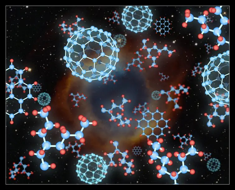 Some of the forms of carbon compounds are depicted against a depiction of a planetary nebula. Each pattern of carbon atoms has its own properties and its own infrared signature. Like diamonds, buckyballs are extremely strong and durable. The planar graphite structure, for example, is weak, and will crumble easily, enabling pencils to work. Credit: Pete Marenfeld (NOAO)