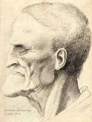 Man with prominent chin and missing teeth. Etching by Wenceslas Hollar.
