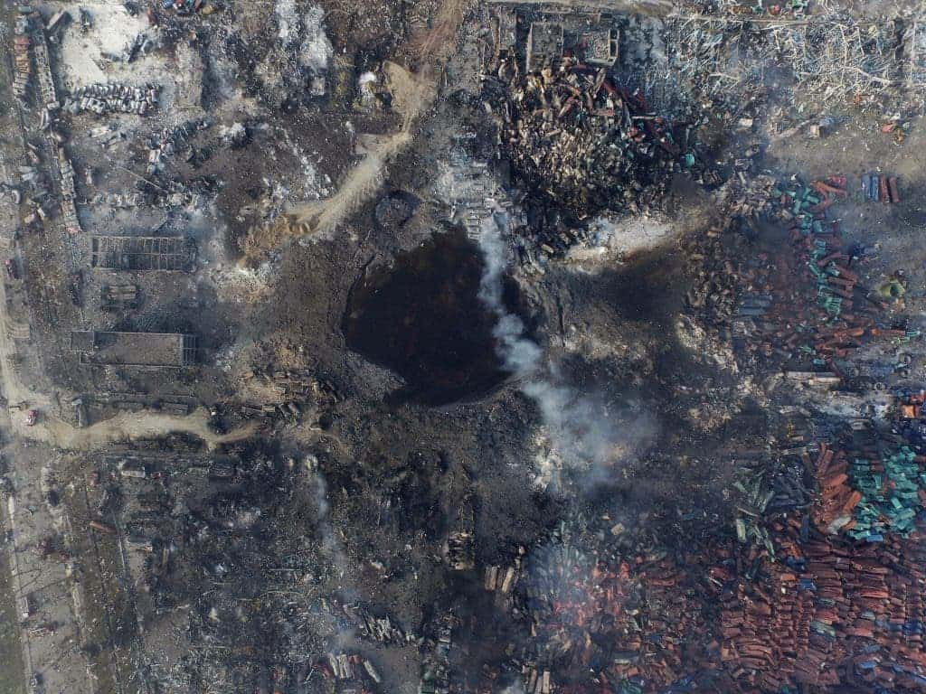 Tianjin explosion crater