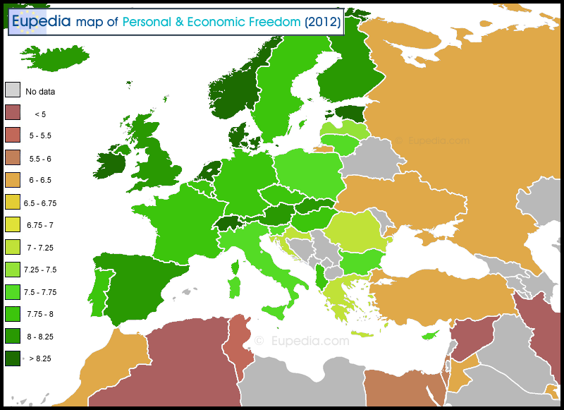 Map reflecting democracy in Europe. This map is based on the data from DemocracyRanking.org for 2013 (situation in 2011-12), compiled by the University of Klagenfurt, Austria.