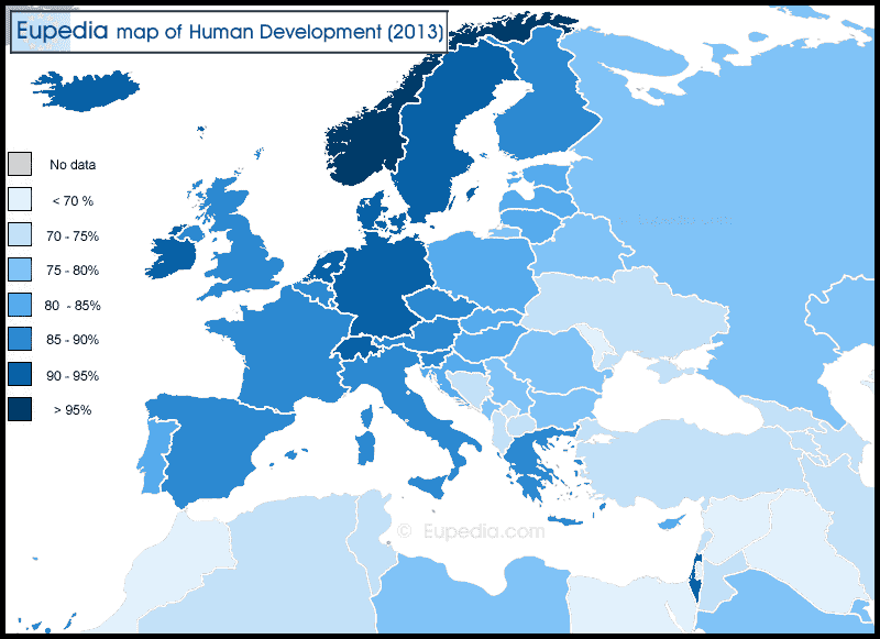 Human Development Index. This map is based on the United Nations's Human Development Report for 2013. Source: Eupedia.