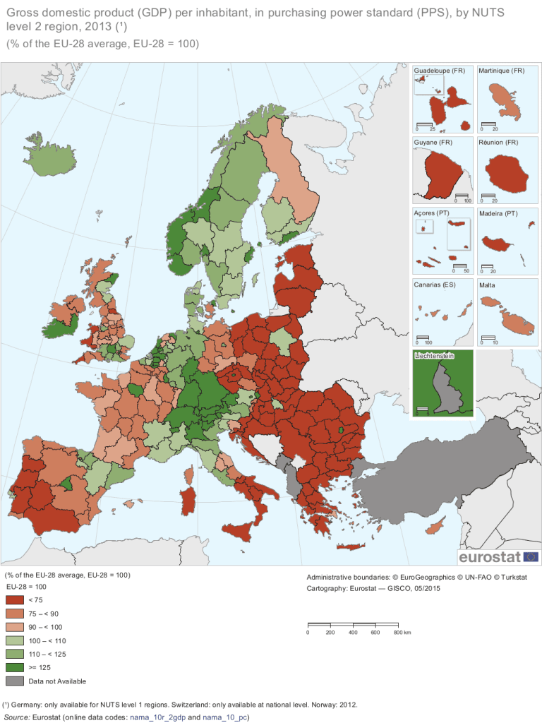 GDP per capita in 2013 for NUTS level 2 regions, with the value for each region expressed as a percentage of the EU-28 average (set to equal 100 %). It portrays relatively 'rich' regions (shown in green) where GDP per capita was above the EU average and relatively 'poor' regions (shown in red). Credit: Eurostat