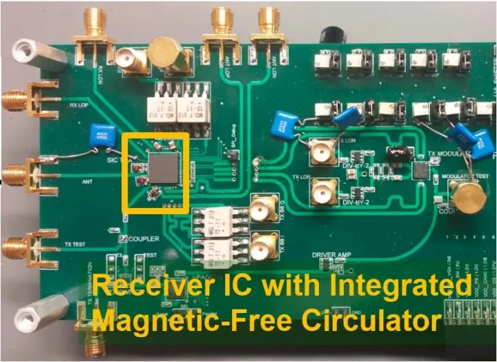 This is the first CMOS full duplex receiver IC with integrated magnetic-free circulator. Credit: Negar Reiskarimian, Columbia Engineering