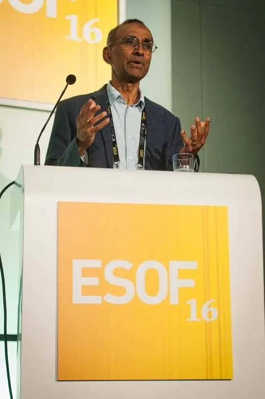 Sir Venkatraman Ramakrishnan speaks at a session titled 'How we visualise large molecules and why that is important' at the EuroScience Open Forum at Manchester Central, in Manchester, United Kingdom on Monday 25th July 2016. Credit: Matt Wilkinson Photography
