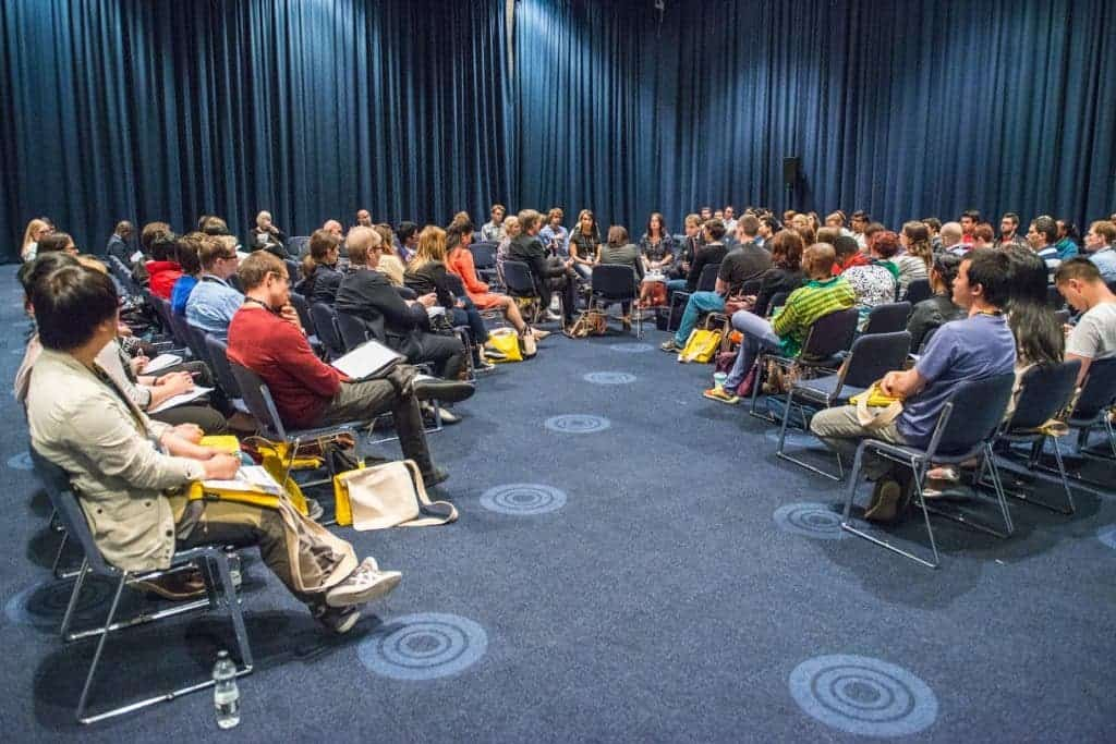 A session titled 'Life after a PhD - what does industry want from you' takes place in the Exchange Hall at the EuroScience Open Forum at Manchester Central, in Manchester, United Kingdom on Monday 25th July 2016. Credit: Matt Wilkinson Photography
