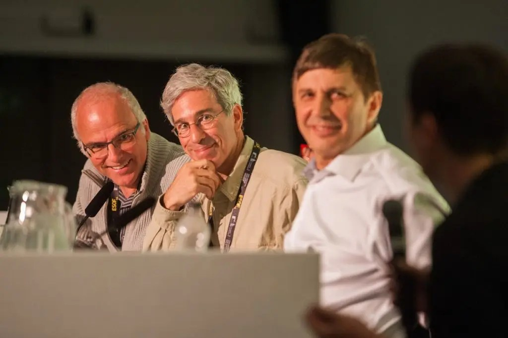 (l-r) Reto Schneider, Marc Abrahams and Sir Andre Geim listen to Elisabeth Oberzaucher at a session titled 'What's so funny about science?' in Charter 1 at the EuroScience Open Forum at Manchester Central, in Manchester, United Kingdom on Monday 25th July 2016. Credit: Matt Wilkinson Photography