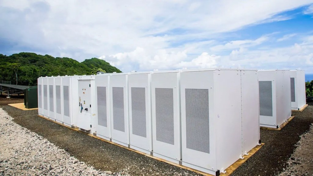 A snapshot of some of the 60 PowerWalls installed on the island. Credit: SolarCity