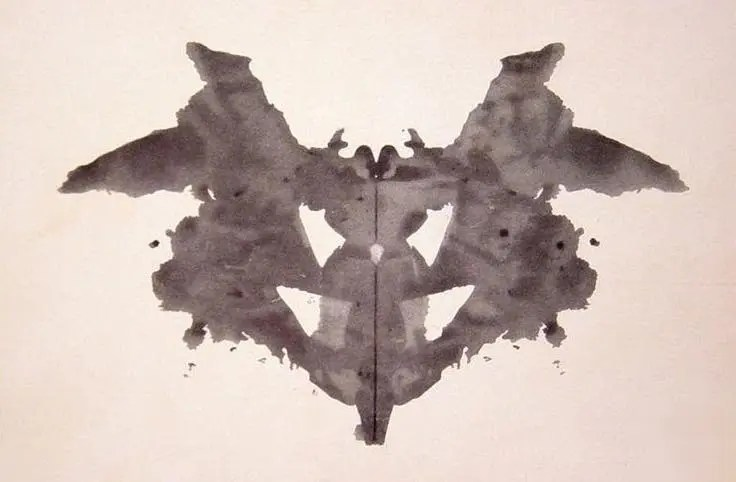 The first of the ten cards in the Rorschach test, with the occurrence of the most statistically frequent details indicated. Credit: Wikimedia Commons.