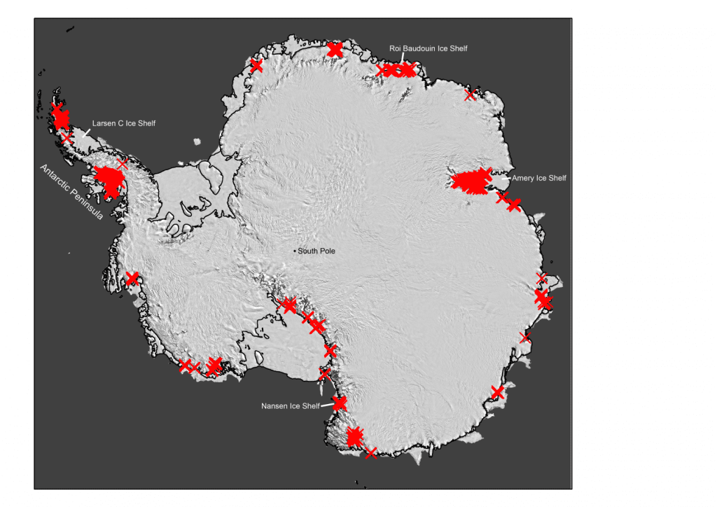 "Much of Antarctica's ice is littered with seasonally flowing meltwater streams. Each ""X"" shows where an individual drainage system was identified. Until recently, scientists used to think these features are confined to the northern Antarctic Peninsula, on the upper left of the map. Credit: Nature, 2017."