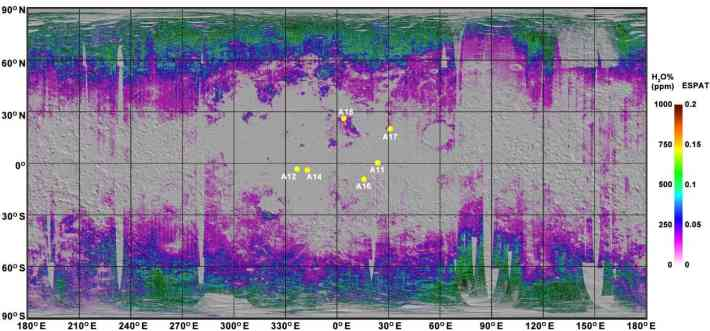 Water content in the moon's soil rises towards the poles and drops towards the equator. This suggests solar winds helped implant the water. The yellow dots are Apollo-era landing sites. Credit: Milliken lab / Brown University.