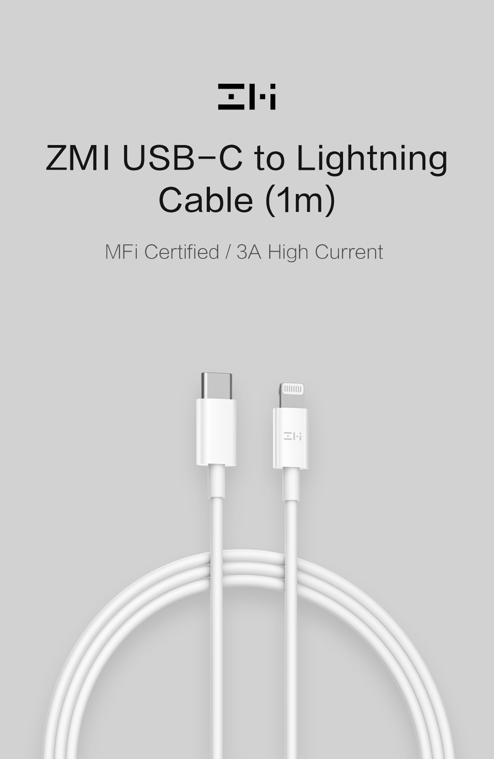 ZMI 3A 18W USB Type-C to MFi Lightning Cable with