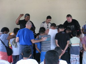 Praying over those who  came forward