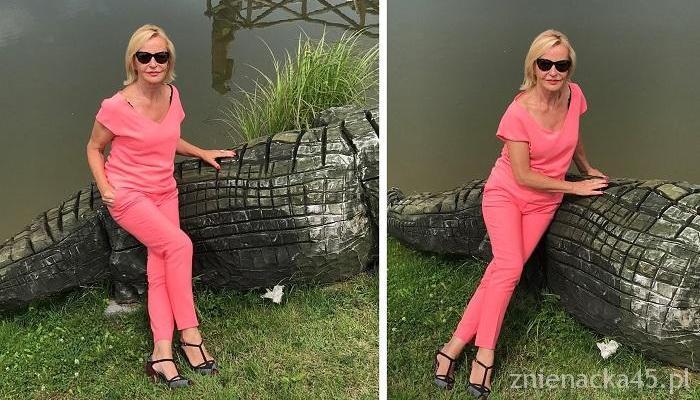 Jak się ubierać po 50: różowy Komplet na Krokodylu