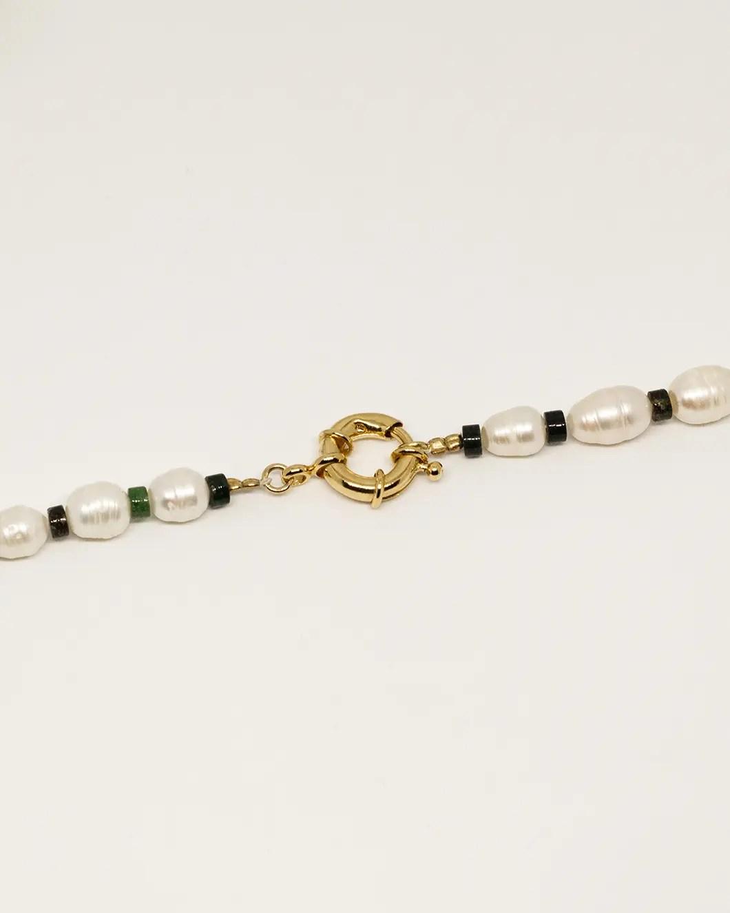 Bracelet perles de culture agate mousse
