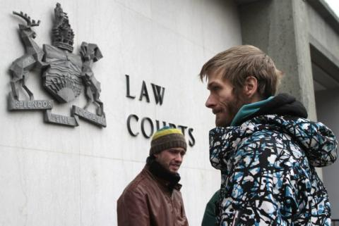 Ryan Elson (John Pettit), right, at BC Supreme Court in Victoria, BC