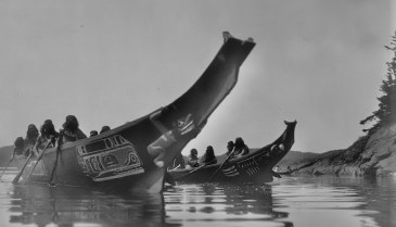 Photo: Nuu-chah-nulth war canoes by Edward Curtis, BC Historical Society