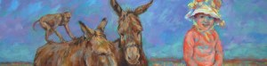 painting detail of a child in a sun bonnet with 2 donkeys and a monkey