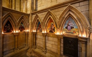Truro Cathedral . All Saints Chapel. paintings illustrating The Stations of The Cross.