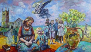painting of a mother and child with Mawgan church behind and village children singing with a jug of daffodils on a table which celebrates the daffodil festival as an angel flies over the scene