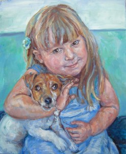 portrait of a cheeky little girl and her terrier dog