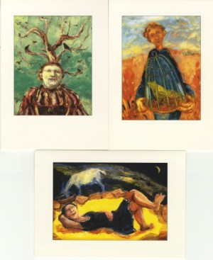 paintings of a boy with a caged bird a figure beneath a tree with rooks and a girl with a feeding goat these images have been made into cards, woman artist, gallery,