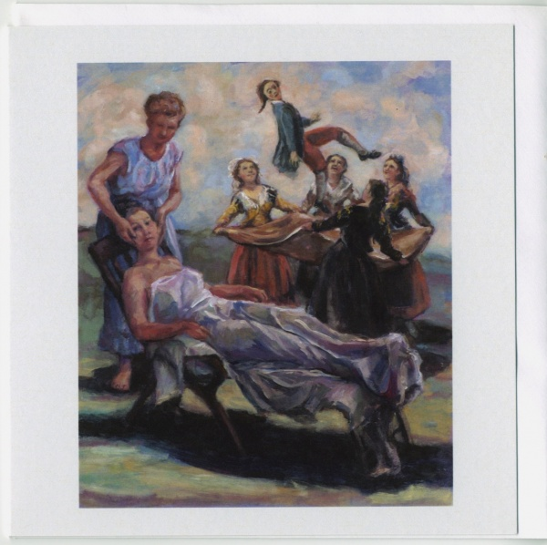 painting of a woman being pampered and behind in homage to Goya a manequine is being tossed in a blanket by four figures in spanish costume this image has been made into a card