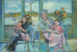 An Informal oil study portrait of a grandmother and a mother seated - comforting an infant that is teething - behind them is the estuary and boats at Topsham Devon