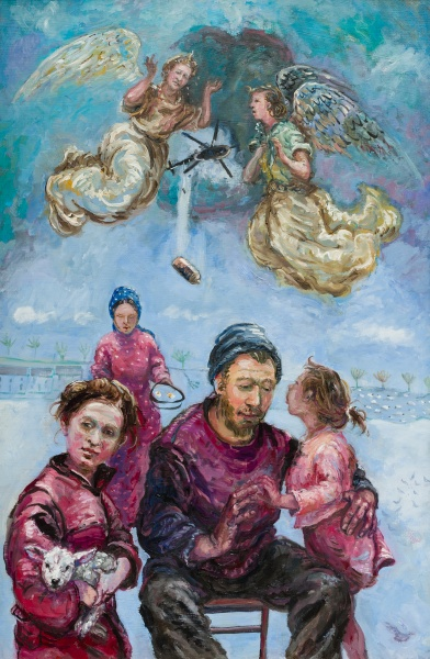 War : painting about the war in Syria dated 2014.The central panel of a triptych to remind us of world conflict - flower paintings either side are memorials to the suffering and loss of war. It shows a family ,a bomb drops from a helicopter and two angels grieve over what is happening.