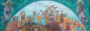 Painting of the Fable by Aesop 'Asinine pride' an Ass is driven into town with a statue of God on his back and crowds watching - two angels hover above either side.