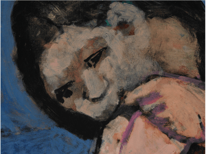 detail from a Matisse painting of the face of a bather