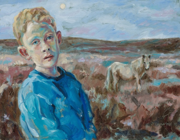 Painting of a boy with a pony on Dartmoor