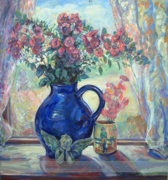 Valentines day.Oil painting.Still life.Summers day.Flowers in a vase.
