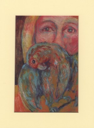 SHOPPING : oil painting of the head of a figure with parrot ,parrot in the foreground with head behind, oil painting, expressionist style, bold colour, painted by Cornish woman artist,