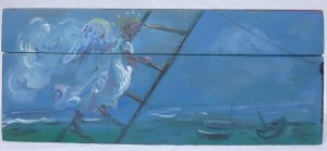 A painting on a box, of an angel at night going up a ladder with the sea and boats behind.