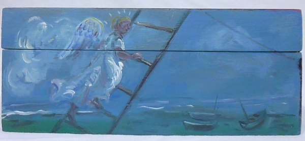 SHOPPING : A painting on a box, of an angel at night going up a ladder with the sea and boats behind.