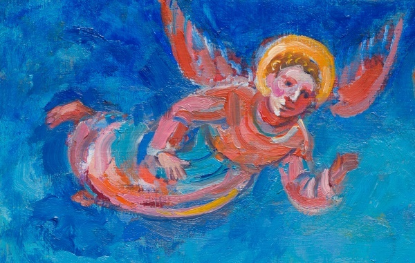 Painting of an Angel flying in a blue sky with a halo