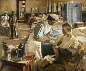 Painting by Sir John Lavery of a nurse tending to a patient in a hospital ward with sick patients behind them.