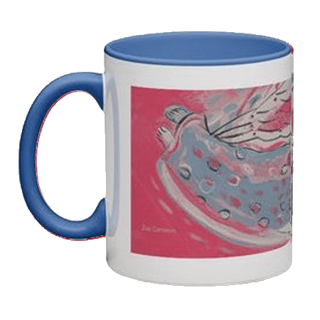 SHOPPING : Angel in spotted dress on blue mug
