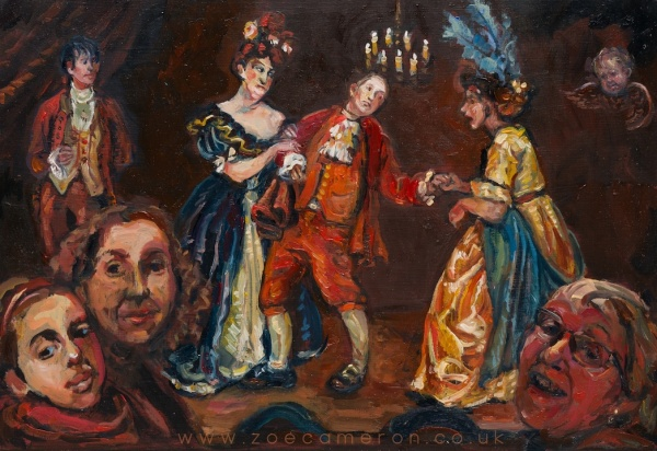 painting of Cinderella on the stage .The ugly sisters fight over the prince and family laugh in the audience