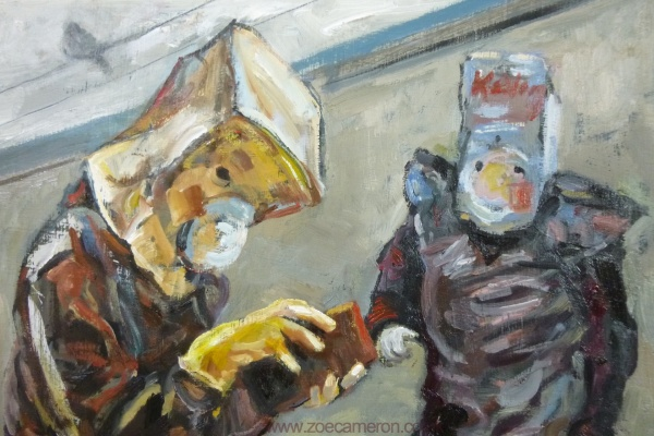 Detail from a painting entitled Family shopping -It shows a person with a paper bag on their head wearing yellow rubber gloves to open his wallet while his partner beyond wears a mask made from a kellogg's  cereal packet and black bin liner while shopping during the Coronavirus Pandemic 2020.