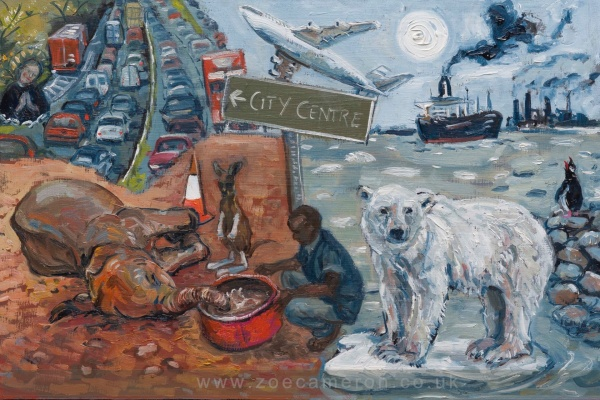 Painting about Global Warming.On the right hand side of the painting a Polar bear stands on a tiny island of ice, behind him ships , aircraft and cars pump out CO2. To the left in the foreground an elephant is dying of thirst being helped to drink and a baby kangaroo has bandaged limbs from injury in Australian bush fires.