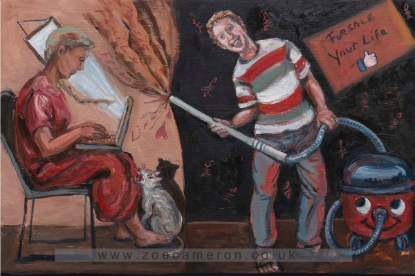 Painting about wwwfacebook.com accused of selling users harvested personal data. To the right of the painting Mark Zuckerberg holds a hoover and is sucking up the contents of the room from the seated figure on the left who is using their computer.