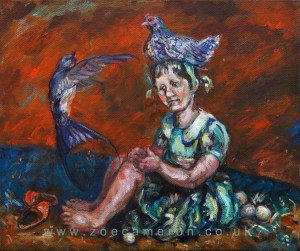 A Painting of Aesop's Fable. The Serpents eggs. 'Even the kindest treatment cannot tame a savage nature'. Oil on canvas 2009. A hen found some snake eggs which she carefully hatched by sitting on them. A swallow saw this and rebuked her saying ' why do you put all this love and care in to creatures that will make you their first victim'.