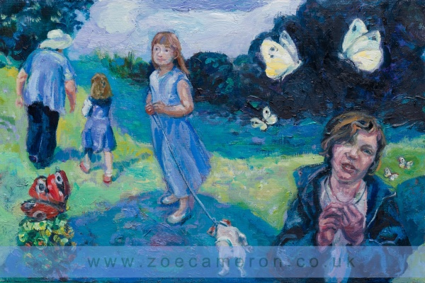painting- of a boy with butterflies around him, a little girl and her dog and a grandmother and grandchild walking away in search of butterflies. Butterflies and Moths Annual National Survey .Oil on board . 100 painted vows.